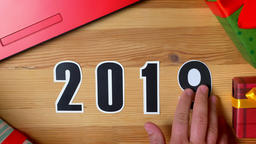 Illustration, new year, male hand put on the table on... Stock Video Footage