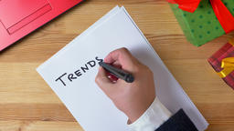 Illustration, new year, man hands write in a notebook, 2019 trends Footage