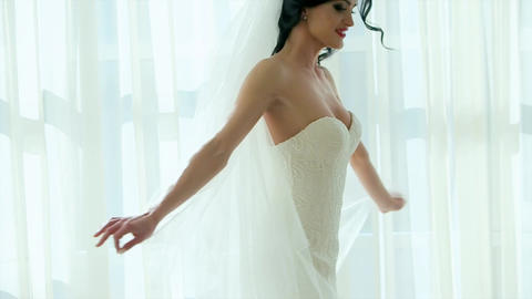 Woman Spinning Dress Slow Motion Hotel Room Happiness Footage