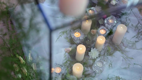 Candles Under Glass With Decorative Grass stock footage