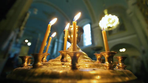 Burning Candles Inside a Church Footage