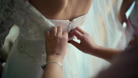 Bride Wears a Wedding Dress Footage