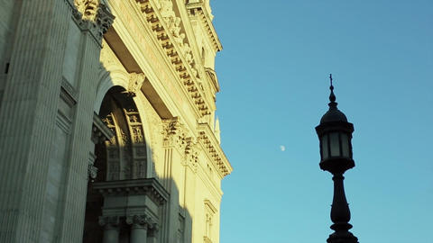 Street Lamp Against the Sky with the Moon in the Day Footage