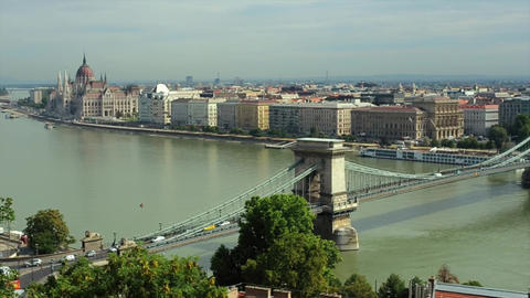 Danube And Parliament Building In Hungarian Capital Budapest stock footage