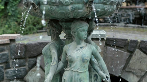 Slow Motion Water Fountain with Woman Statue Summer Footage