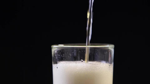 Beer Bubbles in to Glass Footage
