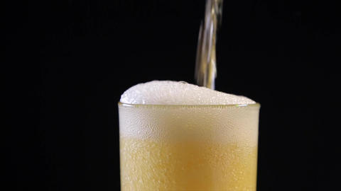 Bright Beer Bubbles Footage