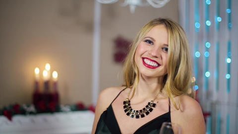Young Beautiful Blonde Woman in Evening Dress with... Stock Video Footage