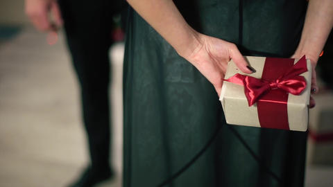 Woman in Evening Dress Holds Back a Gift With Red ribbon Footage