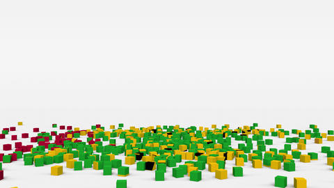 Flag of Sao Tome and Principe created from 3d cubes in slow motion Animation