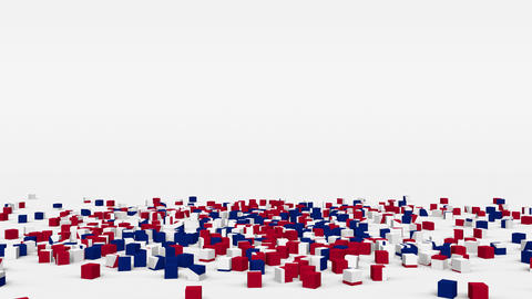 Flag of Great Britain created from 3d cubes in slow motion Animation