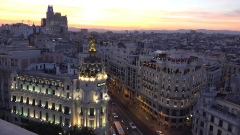 Madrid sunset Gran Via traffic roof top Metropolis view 4k, panorama, real time Footage