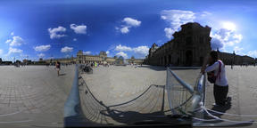 Paris, France - 06 July, 2018: 360 vr footage of world famous Louvre museum VR 360° Video