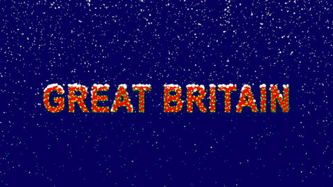 New Year text country name GREAT BRITAIN. Snow falls. Christmas mood, looped Animation