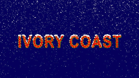 New Year text country name IVORY COAST. Snow falls. Christmas mood, looped Animation