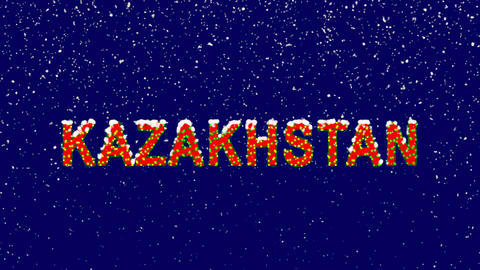 New Year text country name KAZAKHSTAN. Snow falls. Christmas mood, looped video. Animation