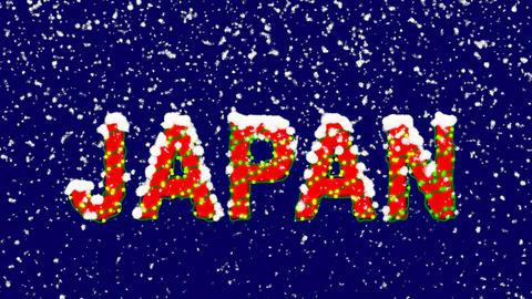 New Year text country name JAPAN. Snow falls. Christmas mood, looped video. Animation