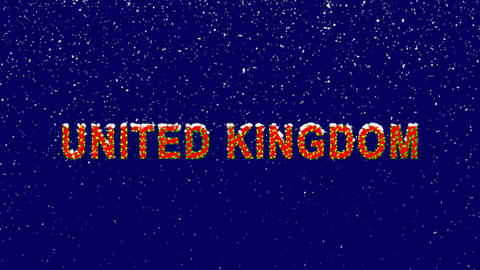 New Year text country name UNITED KINGDOM. Snow falls. Christmas mood, looped Animation