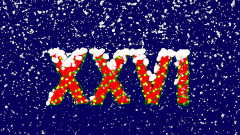 New Year text Roman numerals XXVI. Snow falls. Christmas mood, looped video. Animation