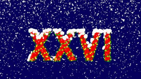 New Year text Roman numerals XXVI. Snow falls. Christmas... Stock Video Footage