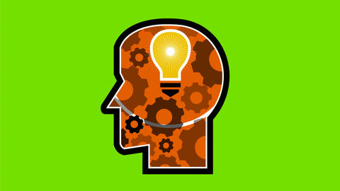 Head with Light Bulb and Cog Retro 2D Animation Animation