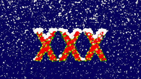 New Year text Roman numerals XXX. Snow falls. Christmas mood, looped video. Animation