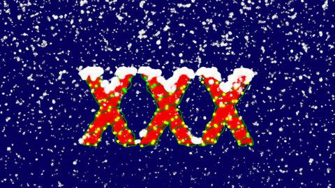 New Year text Roman numerals XXX. Snow falls. Christmas... Stock Video Footage