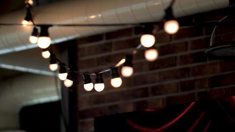 wedding bulbs Garlands lighted decor Stock Video Footage