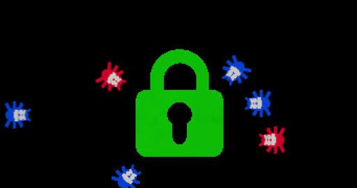Virus attack retro style Animation