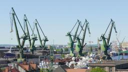 Gdansk, Poland. Industrial Area Of Shipyard In Gdansk Footage