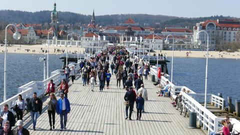 SOPOT, POLAND -APRIL 2018: People On The Pier In Sopot, Poland 02 GIF