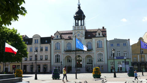WEJHEROWO, POLAND. The Town Hall And The Jakub Wejher Square In The Old Town Live Action