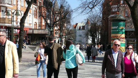 SOPOT, POLAND -APRIL 2018: Crowd Of Tourists On The Monte Casino Street 06 GIF