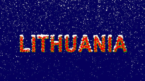 New Year text country name LITHUANIA. Snow falls. Christmas mood, looped video. Animation