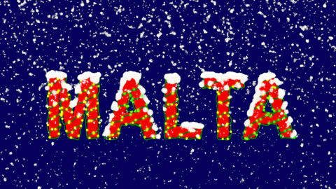 New Year text country name MALTA. Snow falls. Christmas mood, looped video. Animation