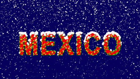 New Year text country name MEXICO. Snow falls. Christmas mood, looped video. Animation