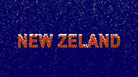 New Year text country name NEW ZELAND. Snow falls. Christmas mood, looped video. Animation