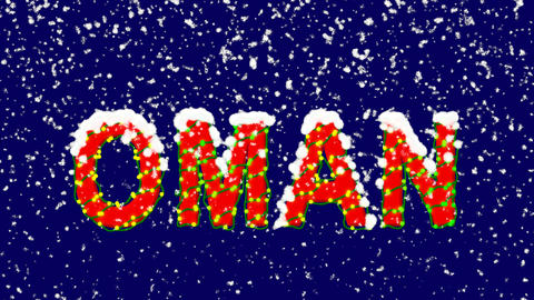 New Year text country name OMAN. Snow falls. Christmas mood, looped video. Alpha Animation