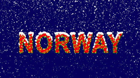 New Year text country name NORWAY. Snow falls. Christmas mood, looped video. Animation