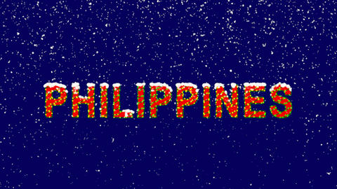 New Year text country name PHILIPPINES. Snow falls. Christmas mood, looped Animation
