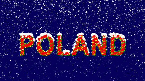 New Year text country name POLAND. Snow falls. Christmas mood, looped video. Animation