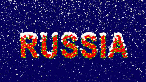 New Year text country name RUSSIA. Snow falls. Christmas mood, looped video. Animation