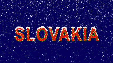 New Year text country name SLOVAKIA. Snow falls. Christmas mood, looped video. Animation