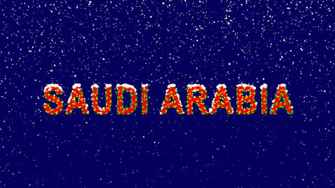 New Year text country name SAUDI ARABIA. Snow falls. Christmas mood, looped Animation