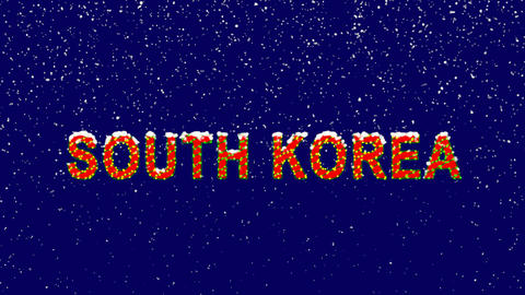 New Year text country name SOUTH KOREA. Snow falls. Christmas mood, looped Animation