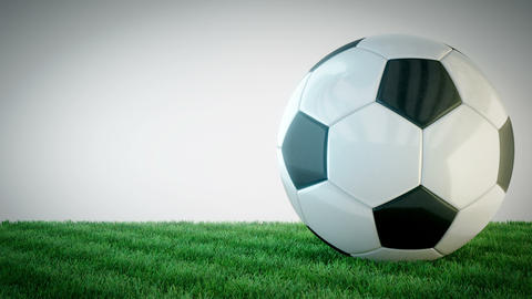 Rotating glossy soccer ball on grass field - seamless loop Live Action