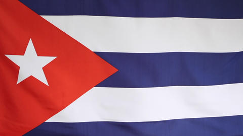 Fabric national flag of Cuba Footage