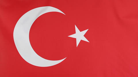 Closeup of national flag of Turkey Footage
