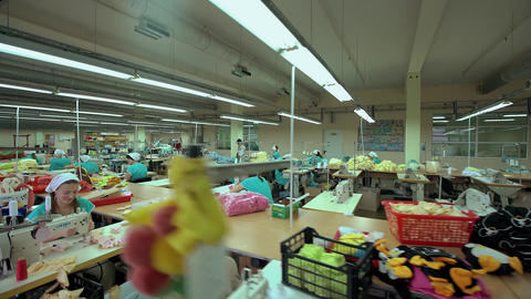 Workers in the Clothing Department Footage