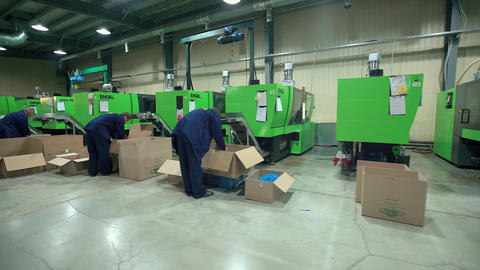 Plastic Parts Workers Operate Equipment Manufacture Footage